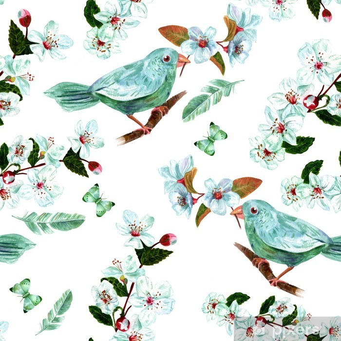 Seamless background pattern with watercolor bird, flowers, feathers and butterflies Self-Adhesive Wall Mural - Graphic Resources