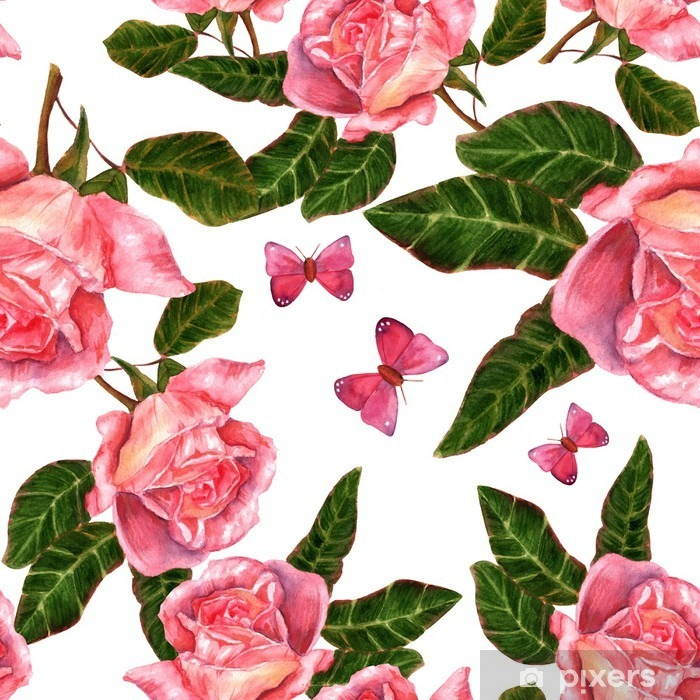 Seamless background pattern with vintage style watercolor roses Self-Adhesive Wall Mural - Plants and Flowers