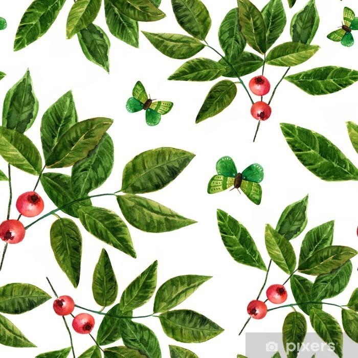 Fototapeta winylowa Jednolite tło wzór z liści akwarela, jagody i motyli - Jedzenie