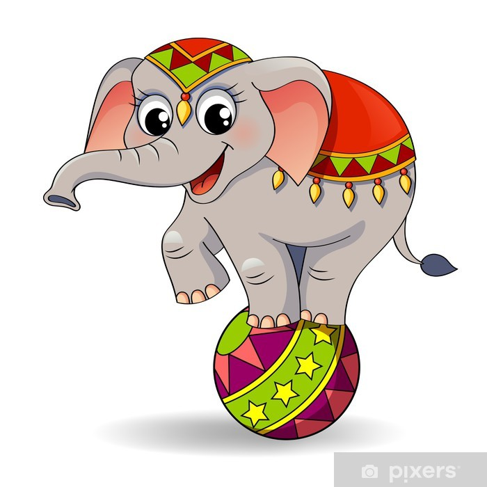 Funny Cartoon Circus Elephant Balancing