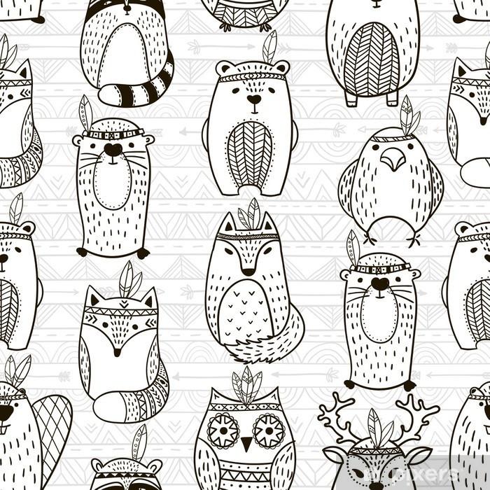 Vinyl Fotobehang Naadloos patroon met tribal dieren - illustratie - Grafische Bronnen