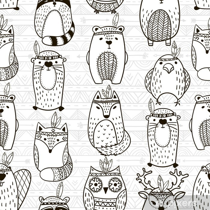 Seamless pattern with tribal animals - Illustration Vinyl Wall Mural - Graphic Resources