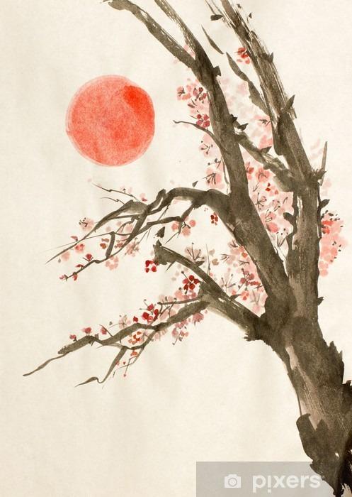 Fototapet av vinyl Plomme tre rød sol - Planter og Blomster