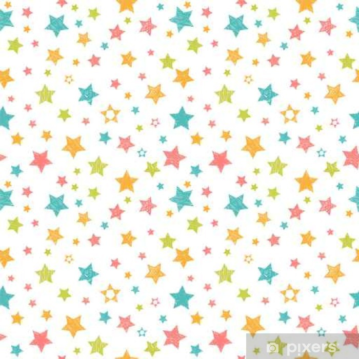 Cute seamless pattern with stars. Stylish print with hand drawn Pixerstick Sticker - The Environment