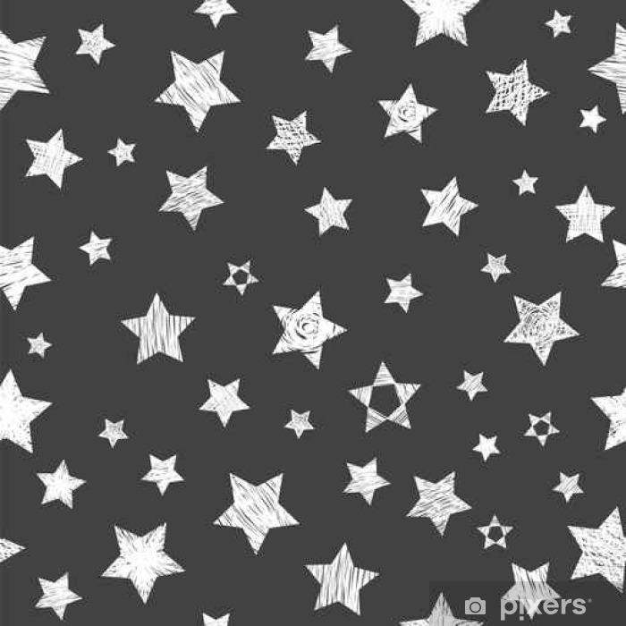 Fototapet av vinyl Sømløs mønster med hvite stjerner på svart bakgrunn. Stilig p - Miljøet