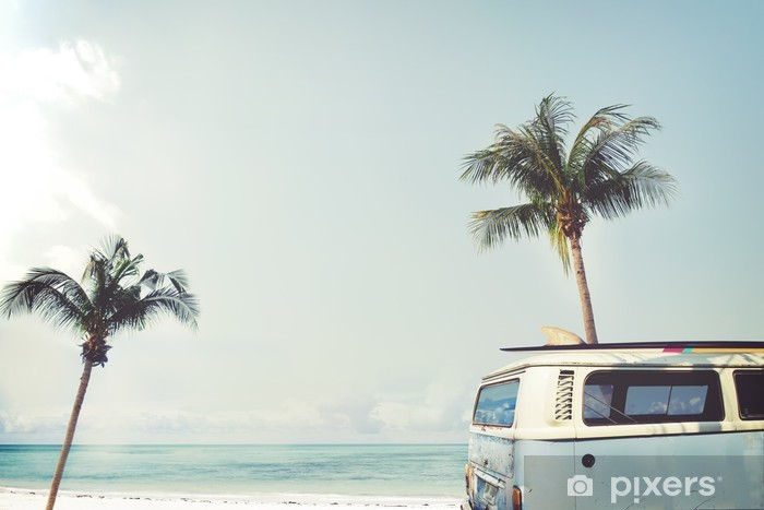 Vintage car parked on the tropical beach (seaside) with a surfboard on the roof - Leisure trip in the summer Pixerstick Sticker - Hobbies and Leisure