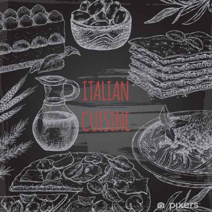 Papier Peint Italienne Modele De Cuisine Sur Bavkground Tableau Noir