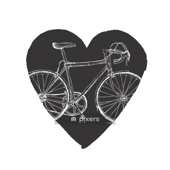 Vintage Bicycle in Heart. Wall Decal - Bicycles