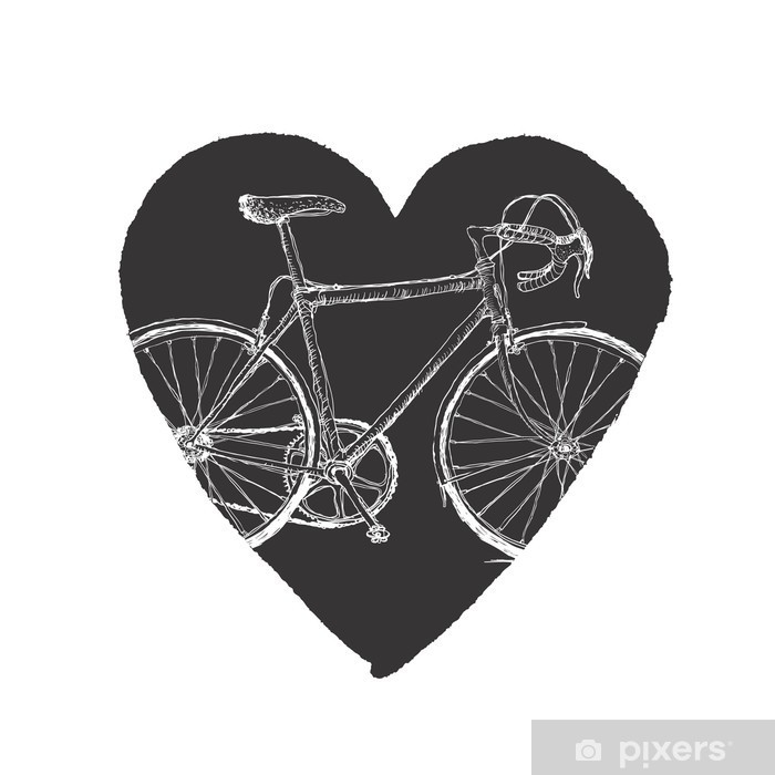 Sticker Pixerstick Bicycle Vintage in Heart. - Vélos