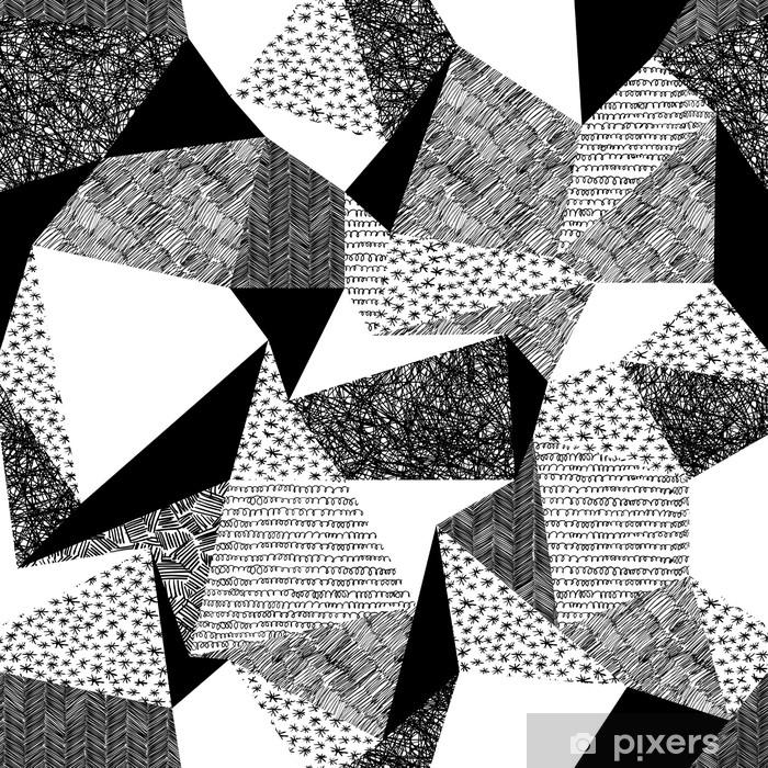 Pixerstick Sticker Geometrische naadloze patroon in retro stijl. vintage background.tr - Grafische Bronnen