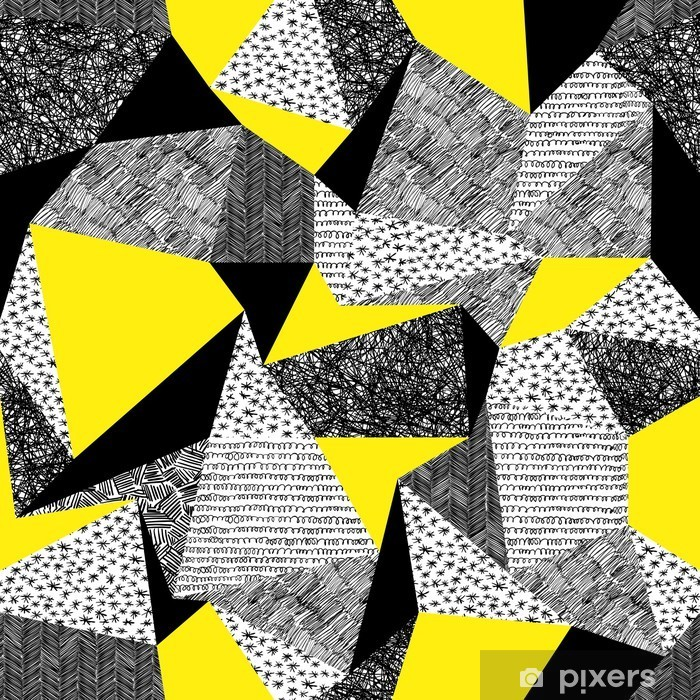 Geometric seamless pattern in retro style. Vintage background.Tr Vinyl Wall Mural - Canvas Prints Sold