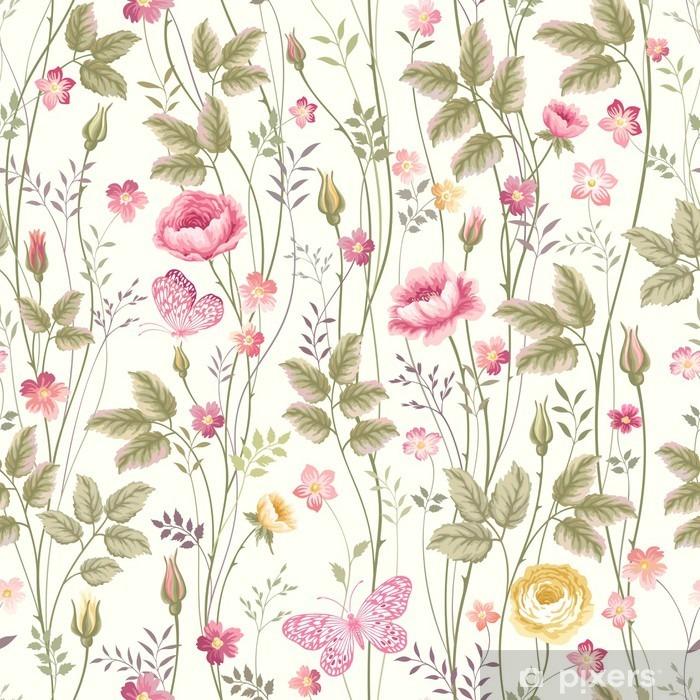 Zelfklevend Fotobehang Naadloze bloemmotief met rozen en vlinder - Bloemen en Planten