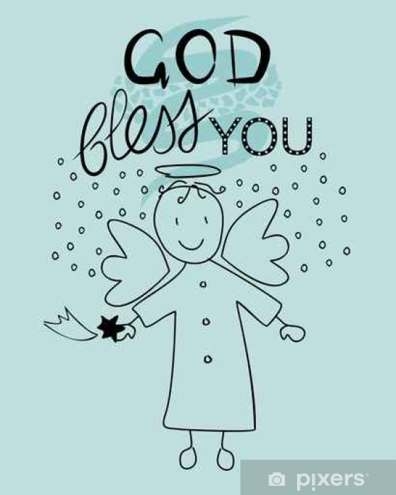 Naklejka Pixerstick Biblia napis Bóg błogosławi wam i aniołek - Religia i kultura