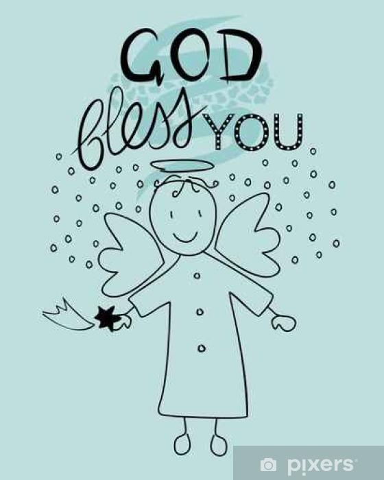 Sticker Pixerstick Bible lettrage Dieu vous bénisse et petit ange - Culture et religion