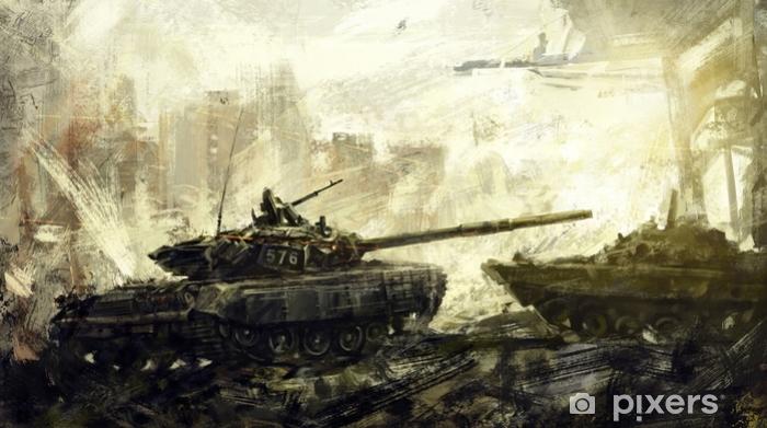 Fotomural Estándar Guerra, tanque de batalla. arte digital. La imagen digital se dibuja en el editor digital, utilizando los pinceles del autor. - Problemática social