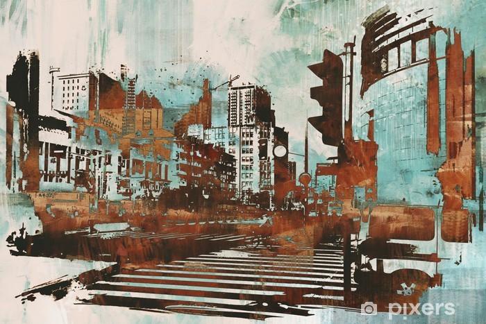Fototapeta winylowa Cityscape z abstrakcyjnego grunge, ilustracja malarstwo - Hobby i rozrywka