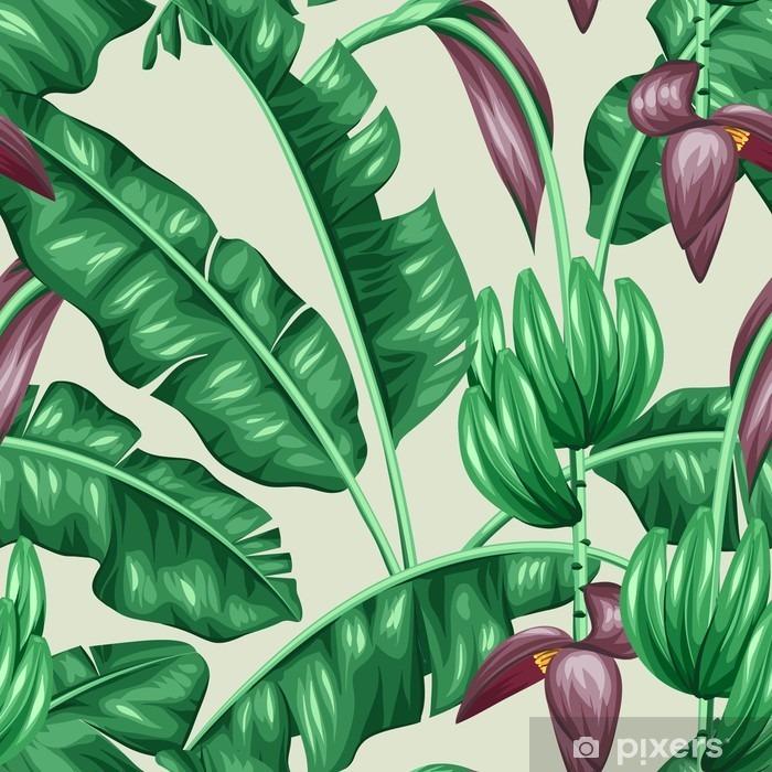 Fotomural Estándar Sin patrón, con hojas de plátano. Imagen decorativa de tropicales follaje, flores y frutas. Antecedentes de hecho sin la máscara de recorte. Fácil de usar para el telón de fondo, textiles, papel de envolver - Plantas y flores