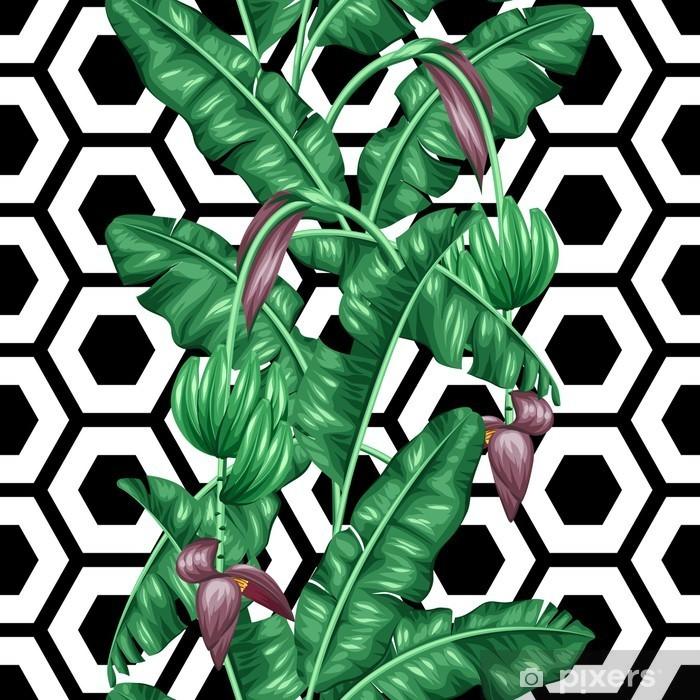 Naklejka Pixerstick Jednolite wzór z liści bananowca. Obraz dekoracyjne tropikalnych liści, kwiatów i owoców. Tło wykonane bez wycinek maska. Łatwy w obsłudze dla tło, tekstylia, papier pakowy - Rośliny i kwiaty