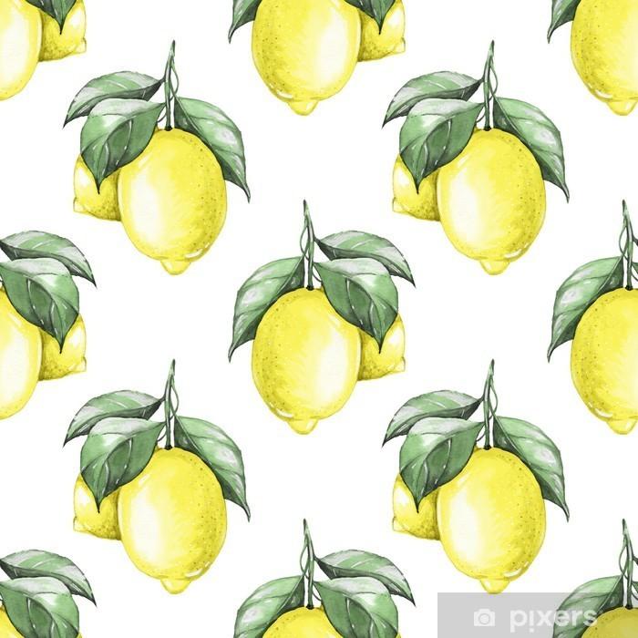 Pixerstick Aufkleber Zitronen. Aquarell nahtlose Muster 1 - Canvas Prints Sold