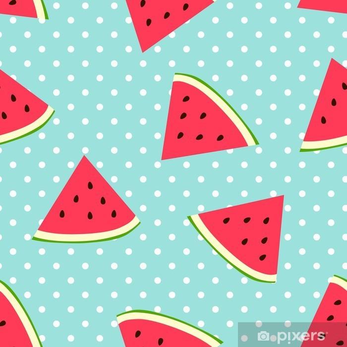 Vinyl-Fototapete Watermelon nahtlose Muster mit Tupfen - Für Kinderzimmer