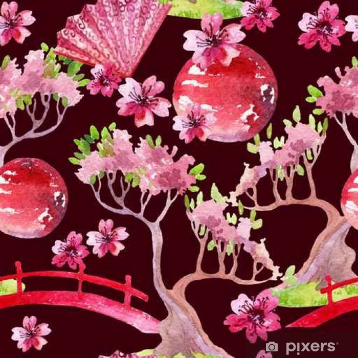 Japanese seamless pattern Washable Wall Mural - Plants and Flowers
