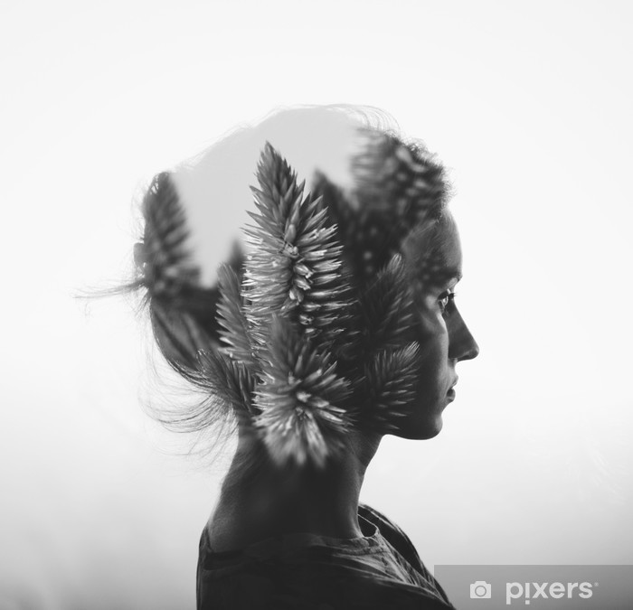 Creative double exposure with portrait of young girl and flowers, monochrome Poster - People