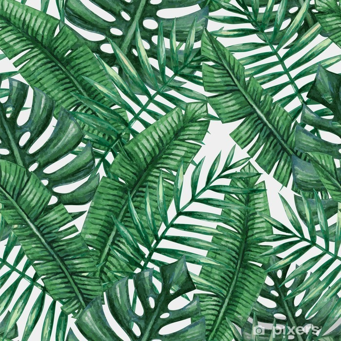 Watercolor tropical palm leaves seamless pattern. Vector illustration. Poster - Graphic Resources