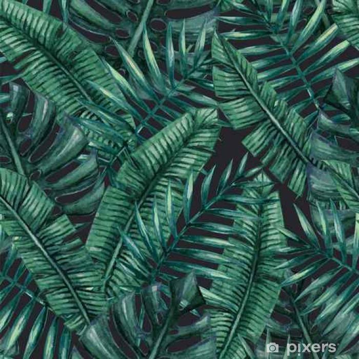 Vinilo para Mesa Lack Palmera tropical de la acuarela deja patrón transparente. Ilustración del vector. - Recursos gráficos