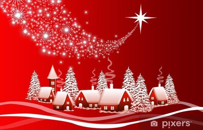 Vinylová fototapeta Červené vánoční krajina - Vinylová fototapeta