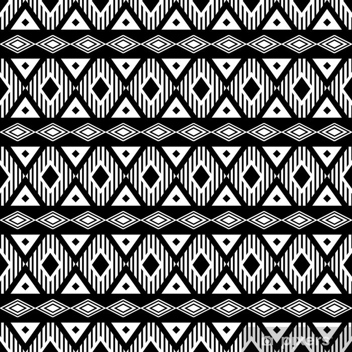 Trendy seamless black and white pattern. Modern boho style, ethnic, geometric. Fashionable pattern for clothes, wrapping, background. Vector. Pixerstick Sticker - Lifestyle