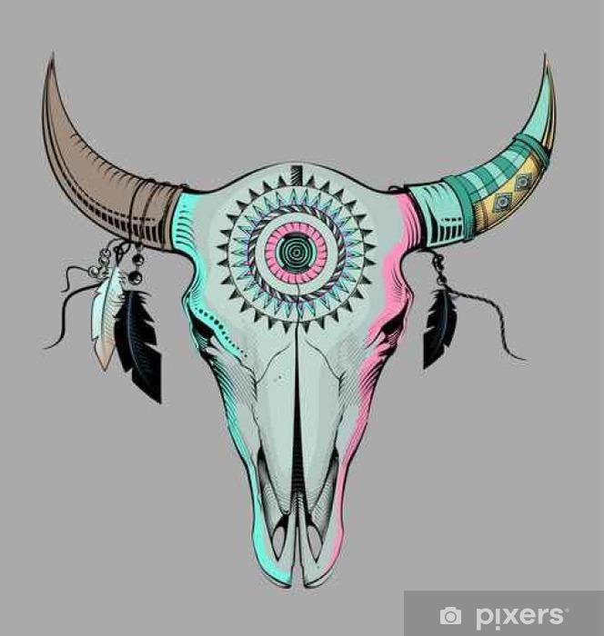 Papier Peint Illustration Vectorielle Crâne Taureau Style Ethnique