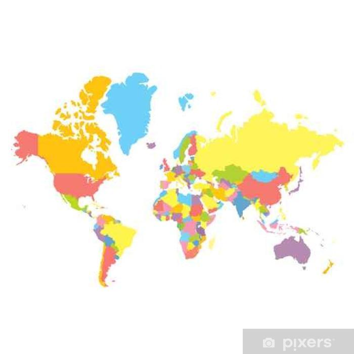 Fototapeta winylowa Kolorowa mapa świata wektor polityczny na białym tle. Każdy kraj barwione w innym kolorze. Odwzorowanie Merkatora płaskim stylu - Krajobrazy