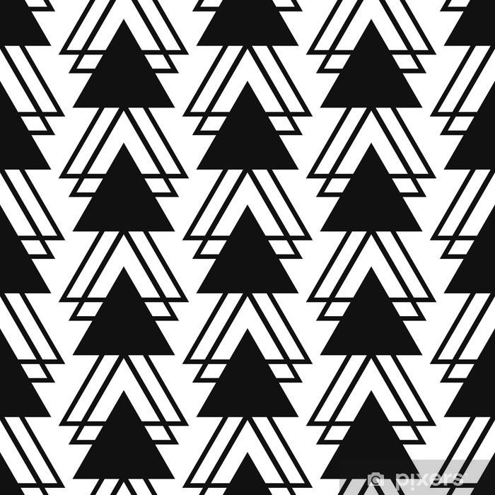 Papier Peint Forme De Triangle Simple Motif Noir Et Blanc Sans