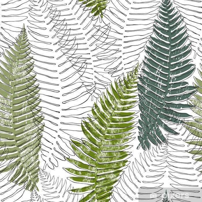 Kaststicker Fern naadloze achtergrond - Bloemen en planten