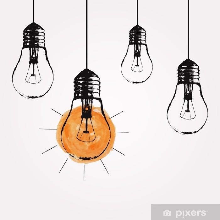 Pixerstick Aufkleber Vector Grunge Illustration mit Glühbirnen und Platz für Text hängen. Moderne Hipster Skizze Stil. Einzigartige Idee und kreatives Denken Konzept. - Gefühle, Emotionen und Geisteshaltung