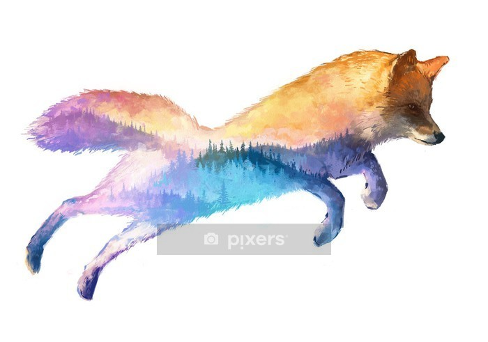 Fox double exposure illustration Wall Decal - Animals