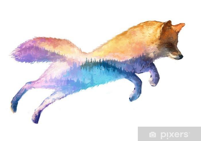 Fox double exposure illustration Pixerstick Sticker - Animals