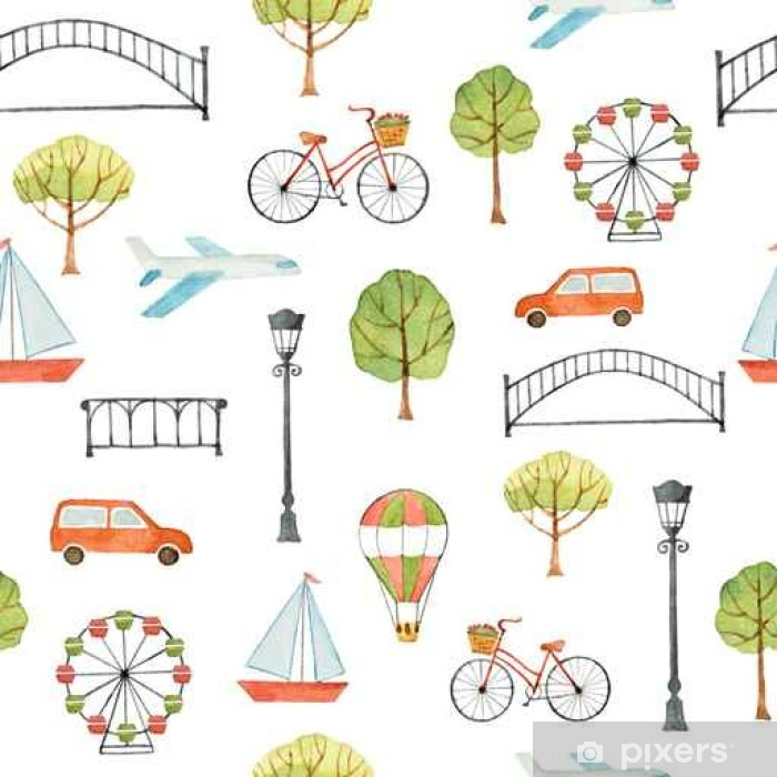 Watercolor seamless pattern with urban elements. Poster - Buildings and Architecture