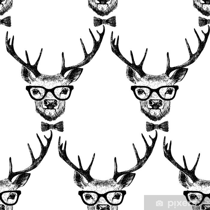 Vinilo Pixerstick Sin costura con mano dibujado ciervos vestidos - Animales