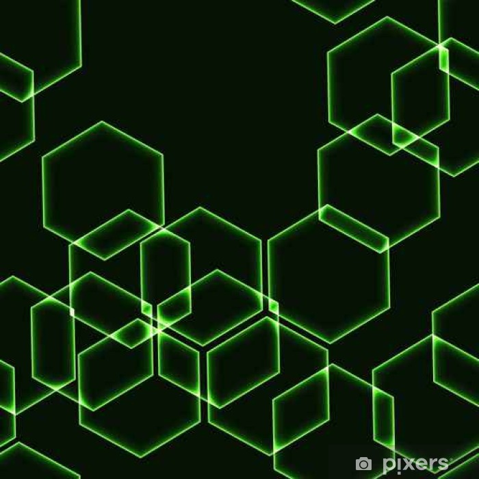 Plakat Bardzo ciemne bezszwowe tło z zielonymi sześciokątów - Zasoby graficzne