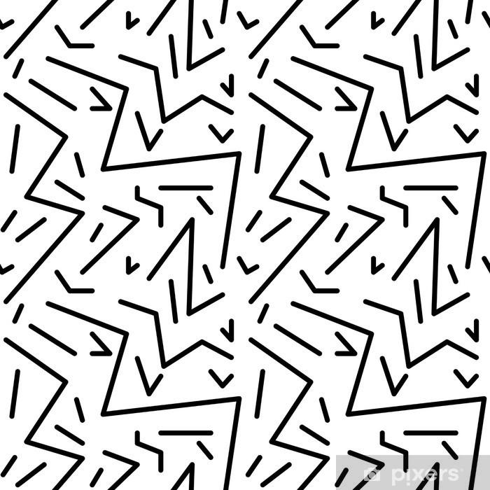 Naklejka Pixerstick Bezproblemowa geometryczny wzór w stylu retro vintage, 80s stylu, Memphis. Idealny do projektowania tkanin, papieru i druku strony tło. EPS10 plik wektorowy - Zasoby graficzne