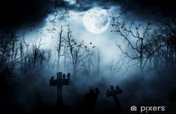graveyard silhouette halloween abstract background. Self-Adhesive Wall Mural - Culture and Religion