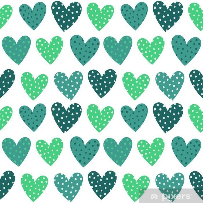 Fototapeta samoprzylepna Śliczne Turkusowe Serca z kropkami Seamless Pattern - Do pokoju dziecięcego