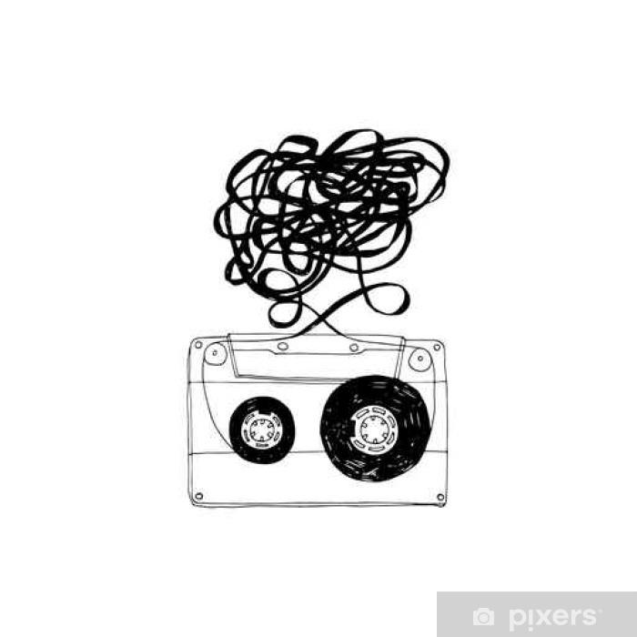 Sticker Pixerstick Cassette audio avec tape.Vector emmêlés. - Passe-temps et loisirs
