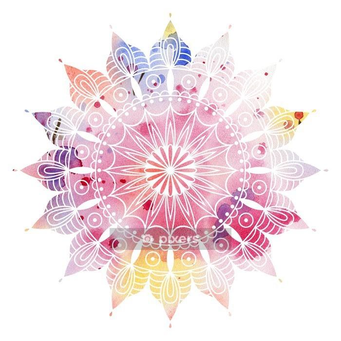 Mandala värikäs akvarelli. kaunis pyöreä kuvio. yksityiskohtainen abstrakti kuvio. koristeellinen eristetty. Seinätarra - iStaging