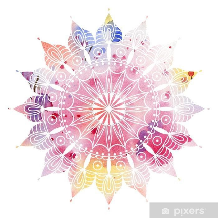 Naklejka Pixerstick Mandala kolorowe akwarele. Piękny okrągły wzór. Szczegółowe abstrakcyjny wzór. Dekoracyjne izolowane. - iStaging