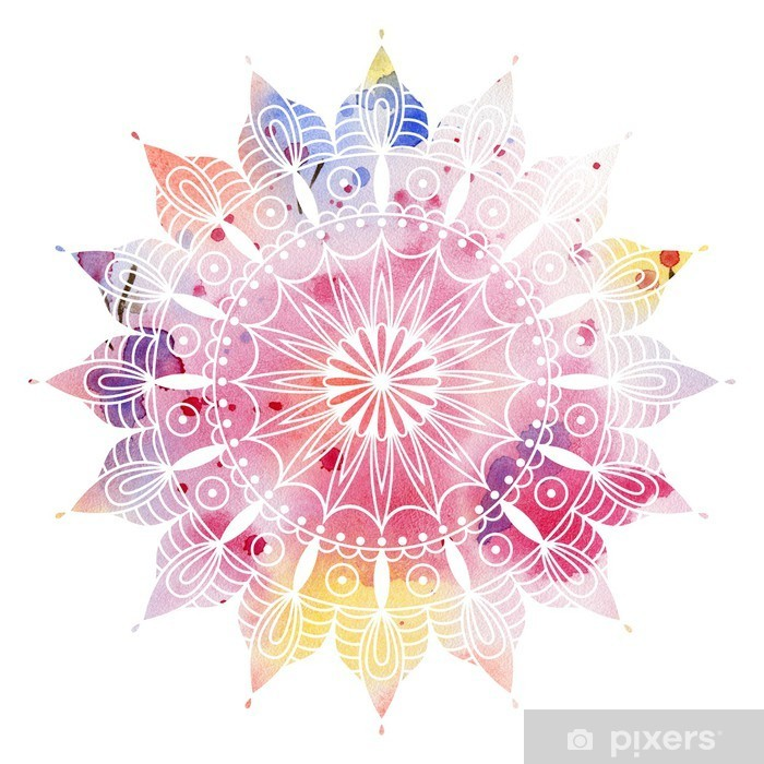 Mandala colorful watercolor. Beautiful round pattern. Detailed abstract pattern. Decorative isolated. Poster - iStaging