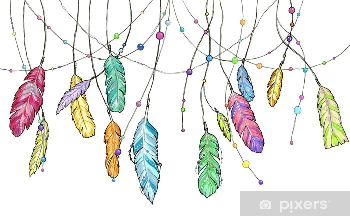 Hand drawn sketch feathers of dream catcher. Vinyl Wall Mural - Graphic Resources