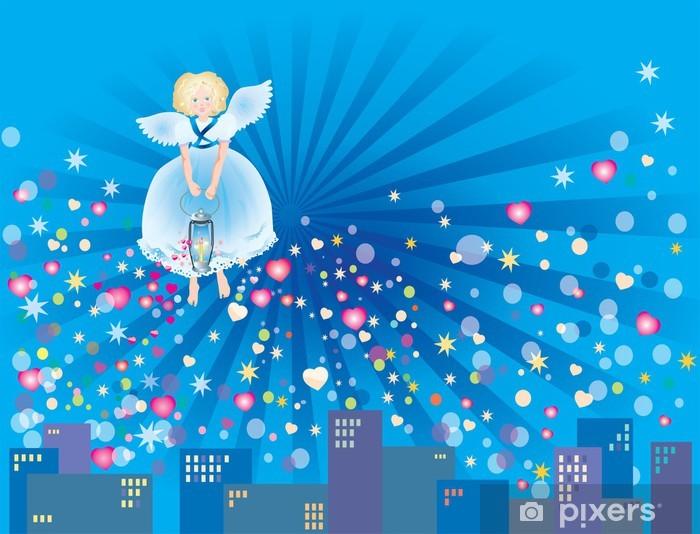 Nálepka Pixerstick Anděl, kterým oheň lásky - Mezinárodní svátky