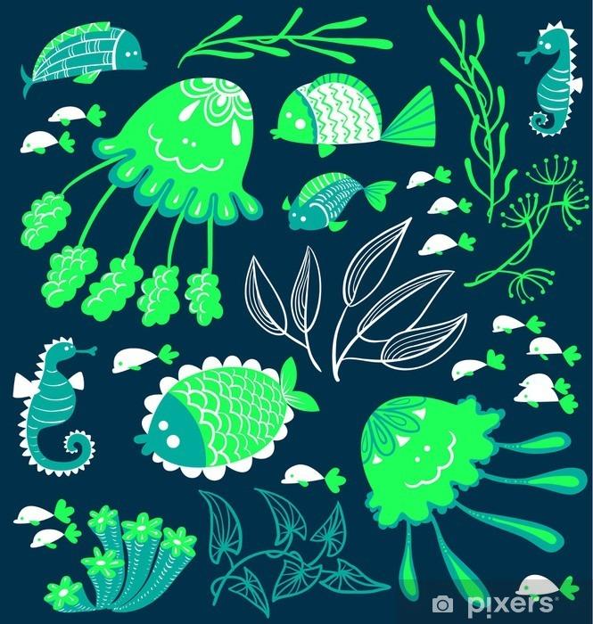 Naklejka Pixerstick Cute cartoon zestaw z ryby, koniki morskie i meduzy - Zwierzęta